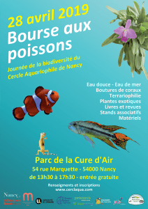 Bourse aux poissons le 28 avril 2019 à Nancy (54) @ Parc de la Cure d'Air | Nancy | Grand Est | France
